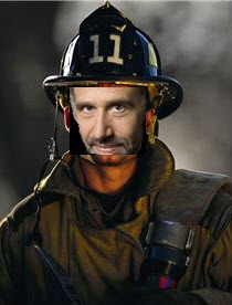 Baker's face superimposed on fireman photo