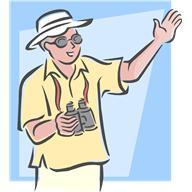 Tourist with hat, sunglasses, and binoculars