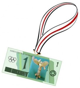 Olympic neck banner with paper currency