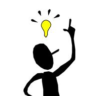Stick figure with light bulb idea icon