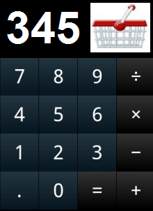 calculator image showing results – 345 with basket image