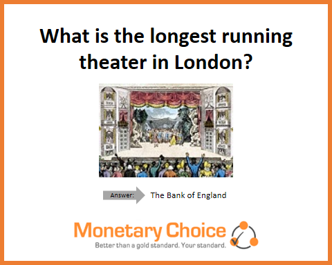 What is the longest running theater in London? The Bank of England.